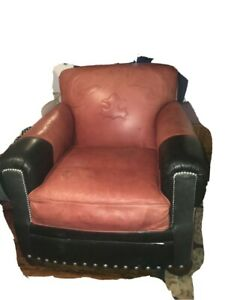 Paul Roberts Western style Leather Chair and Ottoman - Red/Black