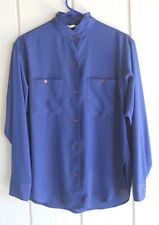 Womens 10 Anne Klein Navy Blue Polyester Button Front Long Sleeve Shirt Bust 43""