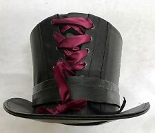 Lo Steampunk Nero in Similpelle TOP HAT E CAPPELLO PIN Taglia 59vm