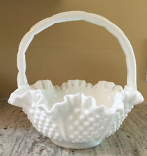 """* FENTON Hobnail w Rope Panel Handled BASKET Milk White 8"""" T ca 1990's for QVC"""