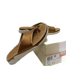 Clarks Tri Alba Comfy Platform Sandal Shoe Bunion Gold LEATHER Slip On Sz 9.5