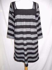 Joie 100% Cashmere Tunic Sweater Mini Dress M Black Gray Stripes Kimono Sleeves