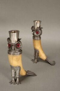 Extremely rare Sterling Silver & ivory Victorian novelty owl candlesticks. 1877