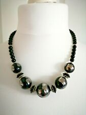 Chunky Black and Grey Bead Necklace Chocker Statement