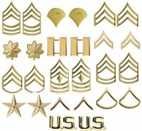 Gold Polished Military Pin On Rank Insignia Set - USA Made