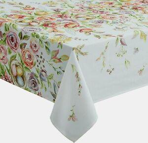 """Easter & Spring Decor Tablecloth Enchanted Garden Floral Tablecloth 60""""x 84"""" OB"""