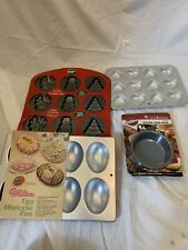 "Lot Of (4)Wilton Baking Pans: Christmas Shapes.Hearts, Eggs&3 4"" Rd. Cakes NWT"