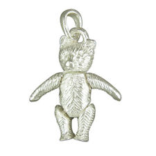 STERLING 925 SILVER TEDDY BEAR MUSIC CHARM PENDANT POUCH ARTICULATED JOINTED
