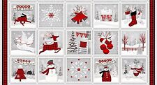 Holiday Homecoming Christmas Fabric Panel Snowmen Premium Cotton