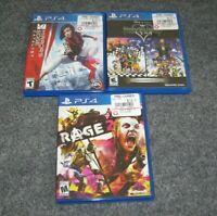 Mirror's Edge Rage 2 Kingdom Hearts HD Remix Sony PS4 3 Game Lot Playstation 4
