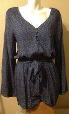 SANCTUARY Ladies Long Sleeve Romper Blue Waist Tie Size L Good Condition