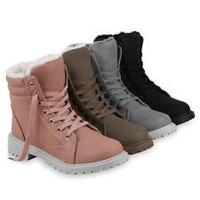 Damen Stiefeletten Worker Boots Warm Gefütterte Outdoor 825362 Schuhe