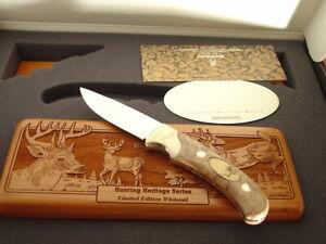 """Browning Japan 8.5"""" Heritage Series Whitetail Deer Blade Knife + Print & Box MIB"""