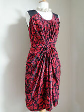 WHISTLES PURE SILK RED BLACK FITTED RUCHED DRESS SZ UK 8