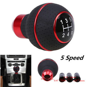 Leather Aluminum Car Manual Automobile 5-Speed Gear Stick Shift Knob Shifter Kit