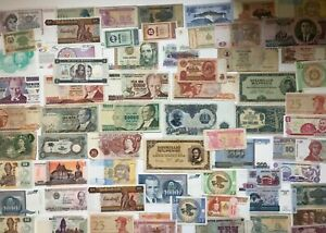 65 World banknotes some uncirculated, Asia, Europe, S America etc **[18938]