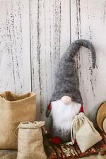 Vintage Gnome Figurine Christmas Handmade Ornaments Gray White Gift Decor 16''