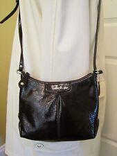 Coach Ashley Dark Brown Patent Leather Swingpack Crossbody Bag