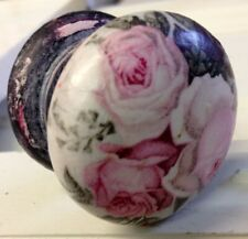LARGE VICTORIAN PINK ROSE BUDS SHABBY CHIC DISTRESSED BLACK NEW KNOB DRAWER PULL