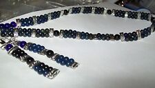 Blue Lapis and Onyx Necklace and Earrings.
