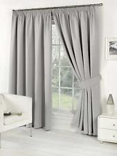 Pair of Silver 66 Width X 90 Drop Luxury Faux Silk Eyelet Curtains Including