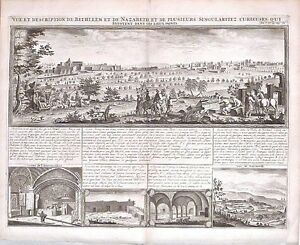 Antique map, Vue & description de Bethleem et de Nazareth