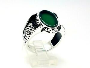 Turkish Jewelry Handmade 925 Sterling Silver Green Agate Men's Ring Size 10 USA