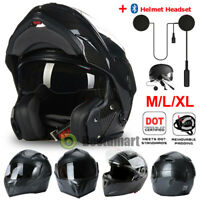 Full Face Motorcycle Helmet DOT Carbon Fiber Black + 2 VISORS + Headset M L XL