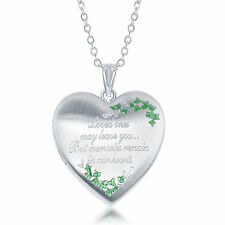Heart Shaped Engraved Cremation and Picture Urn Locket w/ Green Leafs Design