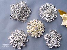 "5 PCs 2"" Rhinestone Brooch Lot Mixed Pin Crystal Pearl Wedding Bouquet Bridal"