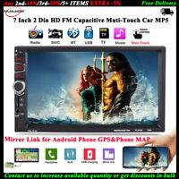 7''2Din Voiture MP5 FM/TF/RM Bluetooth Radio Stéréo Miroir lien pour Android GPS