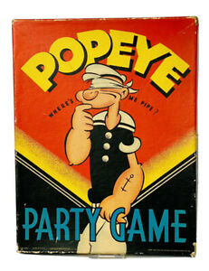 Vintage Antique Popeye Where's Me Pipe Party Game w/ Original Box 1930s Rare