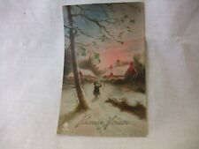 Vintage 1930 Bonne Annee Red House with Lady Postcard