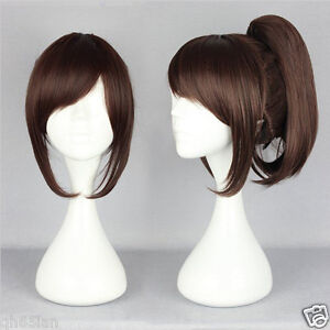 Ladies Wig Short 35cm Medium Brown Ponytail Fashion Girl Cosplay Wigs Women Wig