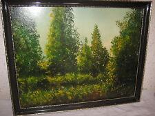 Tableau Cadre avec Peinture  Nature Foret signé R. Justus 72