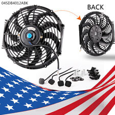 "Fan-12"" Universal Slim Pull Push Electric Radiator Cooling 12V Mount Kit New"