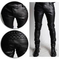 MEN COWHIDE LEATHER Quilted leather Pants Motorcycle Style Bluf GAY trousers