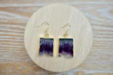All Healer 18k Golden Earrings Raw Amethyst Stone Quartz Healing Protection Gift