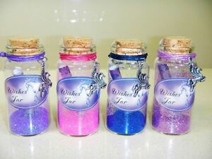 8 x Mystical Unicorn Glass Wishes Jar - Dust Magic Party gift bag Fairy