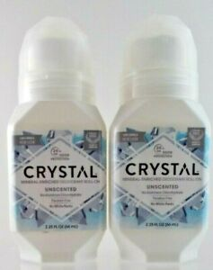 Crystal Mineral Roll-On Body Deodorant, Unscented TWO 2.25 oz. Bottles