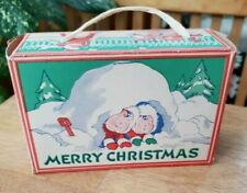 Vintage Antique Christmas Candy Cracker Box Snowfort Skating Snowman