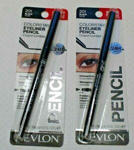 2 Revlon Colorstay Eyeliner Pencils # 201/Black Noir - New