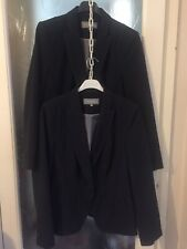 TWO IDENTICAL M&S Woman Dark Grey Lined Jackets Size 14 VGC