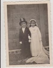 PHOTO ANCIENNE DEGUISEMENT-DEUX JEUNES ENFANTS EN MARIES - GARCON HAUT DE FORME