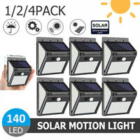 140LED Solar Power Lamp PIR Motion Sensor Garden Security Wall Light Waterproof