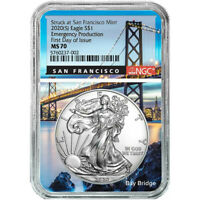 2020 (S) NGC MS 70 Silver Eagle FDOI Emergency Production San Fran Bridge Core