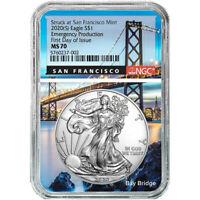 2020 (S) NGC MS 70 Silver Eagle FDOI Emergency Production San Fran Bridge Core