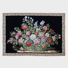 """Large Black Floral Chenille Art Wall Hanging Vintage Antique Tapestry 55""""x38"""""""