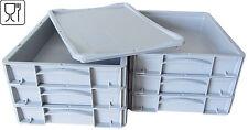 6x kleine Pizzateigbehälter in grau + 1x Deckel in grau gratis! 400x300x70mm NEU