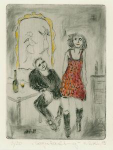 "Reblin, Maren (1943 Swinemünde) ""Begutachtung"" Kaltnadelradierung"